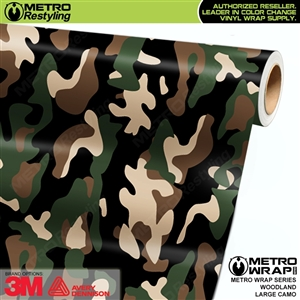 Large Woodland Camouflage Vinyl Vehicle Wrap Film