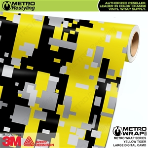 Digital Yellow Tiger Camouflage Vinyl Car Wrap Film