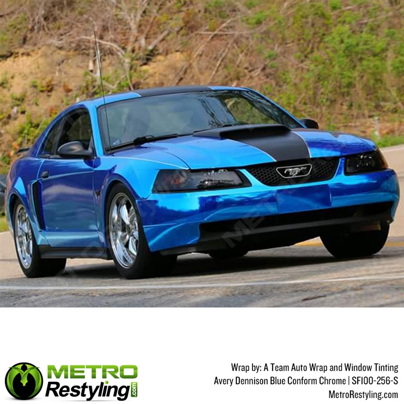 avery gloss blue chrome flexible vinyl wrap film is a great way to