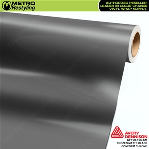 Metro Avery Dennison Frozen Matte Black Conform Chrome vinyl wrap accent film.