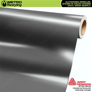 Metro Avery Dennison Frozen Satin Black Conform Chrome vinyl wrap accent film.