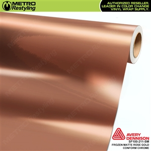 Metro Avery Dennison Frozen Matte Rose Gold Conform Chrome vinyl wrap accent film.