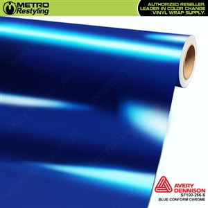 Avery Dennison SF100-256-S Gloss Protected Blue Conform Chrome accent vinyl wrap film gloss laminated.