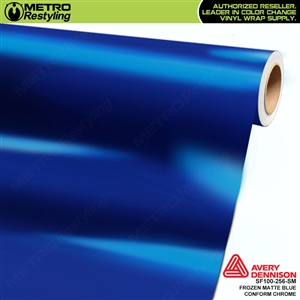 Metro Avery Dennison Frozen Matte Blue Conform Chrome vinyl wrap accent film.