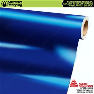 Metro Avery Dennison Frozen Satin Blue Conform Chrome vinyl wrap accent film.
