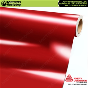 Avery Dennison SF100-474-S Gloss Protected Red Conform Chrome accent vinyl wrap film gloss laminated.