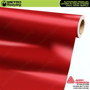 Metro Avery Dennison Frozen Matte Red Conform Chrome vinyl wrap accent film.