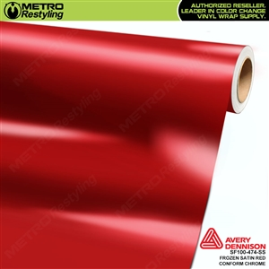 Metro Avery Dennison Frozen Satin Red Conform Chrome vinyl wrap accent film.
