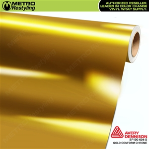 Avery Dennison SF100-604-S Gloss Protected Gold Conform Chrome accent vinyl wrap film gloss laminated.