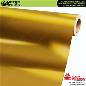 Metro Avery Dennison Frozen Satin Gold Conform Chrome vinyl wrap accent film.