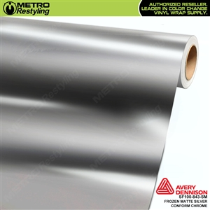 Metro Avery Dennison Frozen Matte Silver Conform Chrome vinyl wrap accent film.