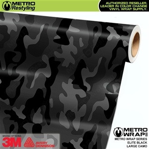 Elite Black Large Camouflage Vinyl Car Wrap Film