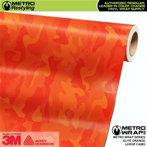 Elite Orange Large Camouflage Car Vinyl Wrap Film