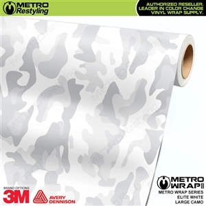 Elite White Large Camouflage Vinyl Vehicle Wrap Film