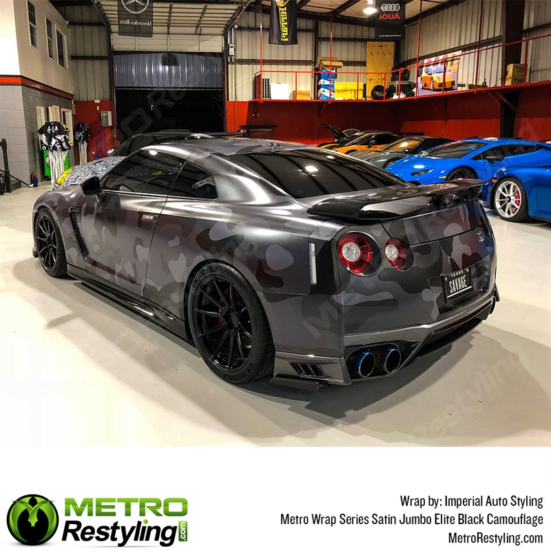 5bf40c511a Elite Black is a jumbo camouflage car wrap vinyl made of black