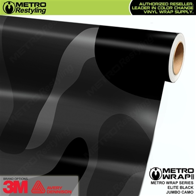 Elite Black Jumbo Camouflage Vinyl Vehicle Wrap Film