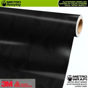 Elite Shadow Black Large Camouflage Vinyl Vehicle Wrap Film