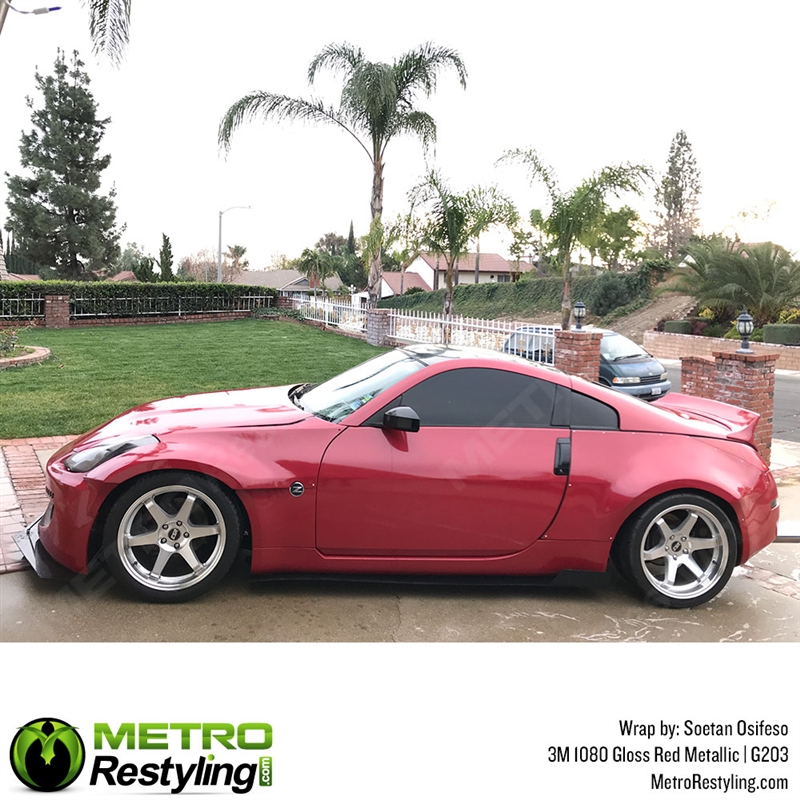 3M 1080 G203 GLOSS RED METALLIC 3in x 5in Car Wrap Vinyl Film SAMPLE SIZE