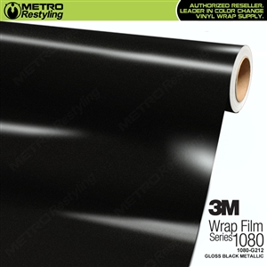 3M 1080 G212 Scotchprint Gloss Black Metallic Vinyl Wrap