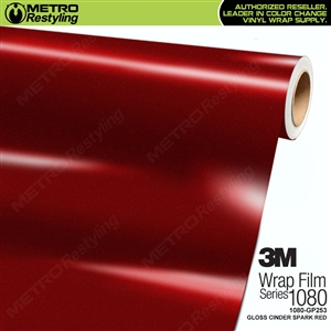 3M 1080 GP253 Gloss Cinder Spark Red vinyl wrap