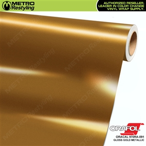 ORACAL Series 970RA High Gloss Gold Metallic Vinyl Wrap Film W/Rapid Air