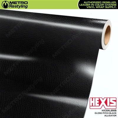 Hexis Gloss Pitch Black Alligator Vinyl Wrap | HX30AL890B