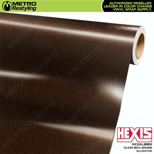 Hexis Gloss Mica Brown Alligator Vinyl Wrap | HX30AL476B