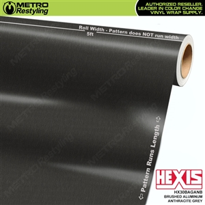 Hexis Brushed Aluminum Anthracite Grey Vinyl Wrap | HX30BAGANB