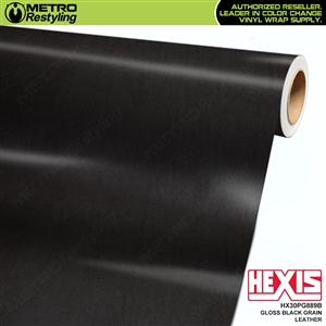 Hexis Gloss Black Fine Grain Leather Vinyl Wrap | HX30PG889B