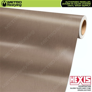 Hexis Gloss Taupe Grey Fine Grain Leather Vinyl Wrap | HX30PGGTAB