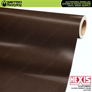 Hexis Gloss Chestnut Fine Grain Leather Vinyl Wrap | HX30PGMBRB