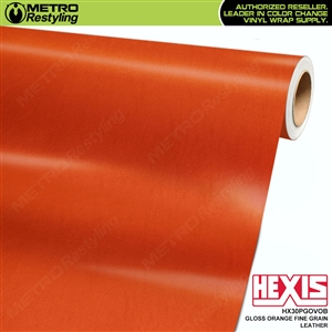 Hexis Gloss Orange Fine Grain Leather Vinyl Wrap | HX30PGOVOB