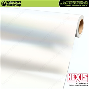 Hexis Gloss White Rainbow vinyl for car wraps. This white base material has rainbow colored flakes shine through in the sun