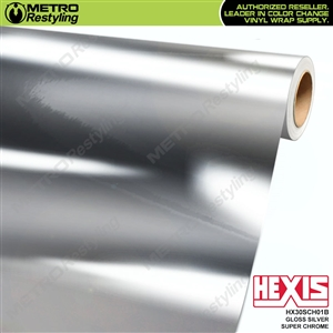 Hexis Gloss Silver Super Chrome Vinyl Wrap | HX30SCH01B