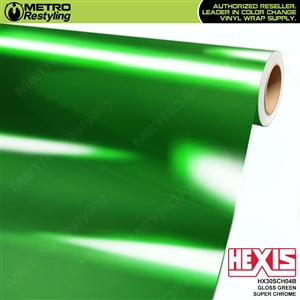 Hexis Gloss Green Super Chrome Vinyl Wrap | HX30SCH04B