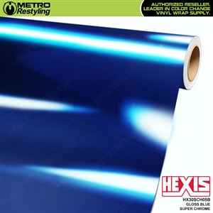 Hexis Gloss Blue Super Chrome Vinyl Car Wrap Film HX30SCH05B