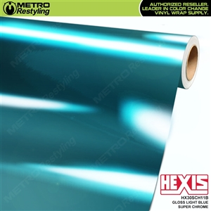 Hexis Gloss Light Blue Super Chrome Vinyl Wrap | HX30SCH11B