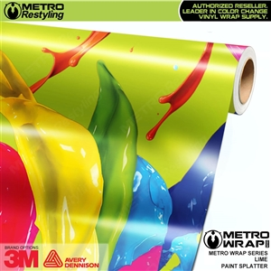 Metro Lime Paint Splatter Vinyl Vehicle Wrap Film