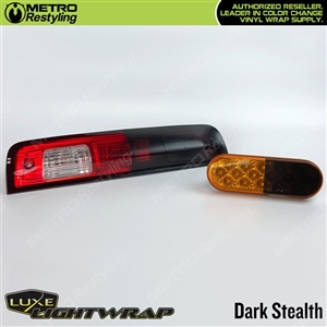 Luxe LightWrap Dark Smoke Stealth tint film for headlights and taillights.