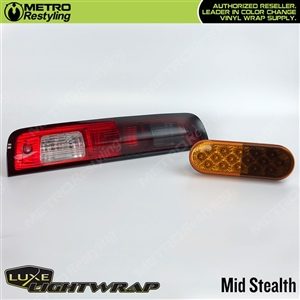 Luxe LightWrap Mid Smoke Stealth Film for headlights and taillights.