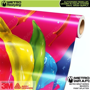 Metro Magenta Paint Splatter Vinyl Vehicle Wrap Film