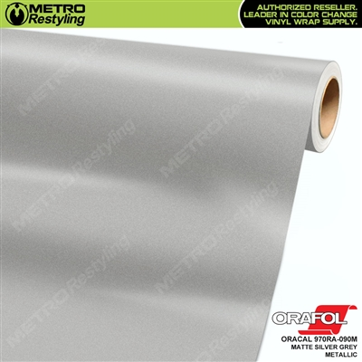 ORACAL Series 970RA Matte Silver Grey Metallic Vinyl Wrap Film W/Rapid Air