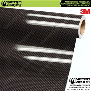 3M Printed Gloss Real D Black Metallic Carbon Fiber Vinyl Wrap