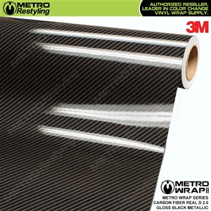 3M Printed Gloss Real D Black Metallic Carbon Fiber 2.0 Vinyl Wrap