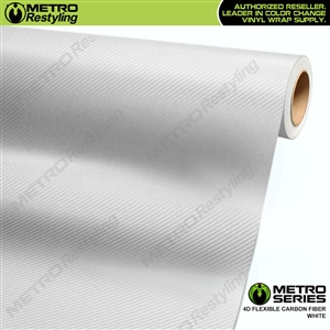 Metro Series White 4D HD Flexible Carbon Fiber Vinyl Wrap Film