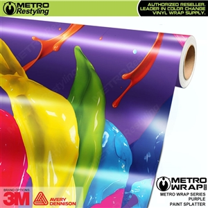 Metro Purple Paint Splatter Vinyl Vehicle Wrap Film