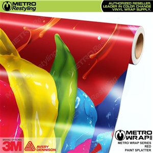 Metro Red Paint Splatter Vinyl Vehicle Wrap Film