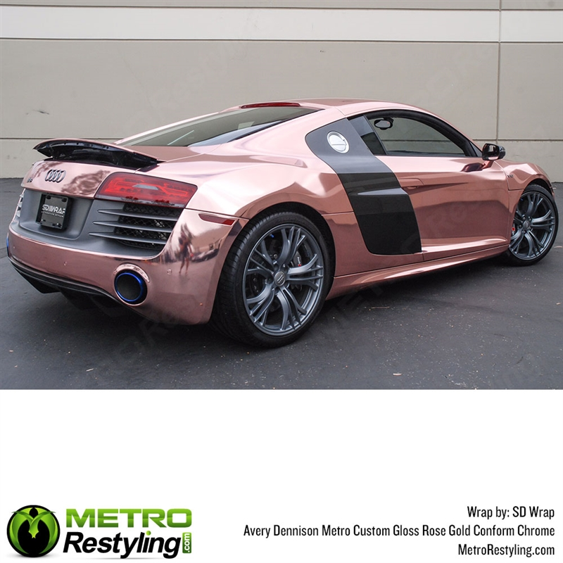 Metro Custom Gloss Rose Gold Conform Chrome Flexible Vinyl Wrap Film