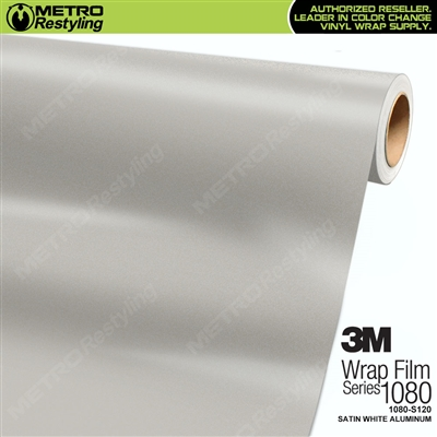 3M 1080 S120 Satin White Aluminum vinyl vehicle wrapping film