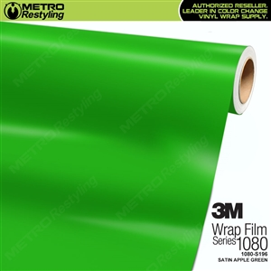 3M 1080 S196 Satin Apple Green vinyl vehicle wrapping film